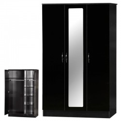 Alpha Black Gloss Two Tone 3 Door Mirrored Set