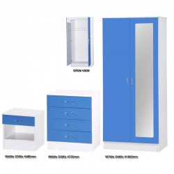 Alpha Blue Gloss & White 2 Door Mirrored Set