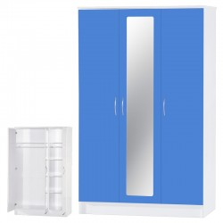 Alpha Blue Gloss & White 3 Door Mirrored Set