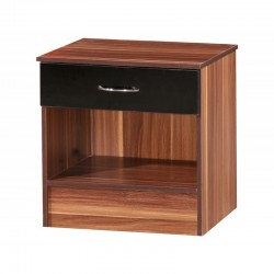 Alpha Black Gloss & Walnut 1 Drawer Bedside
