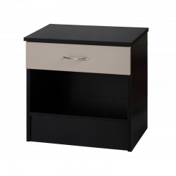 Alpha Luxe Grey Gloss & Black 1 Drawer Bedside