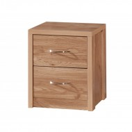 Holland Oak 2 Drawer Bedside Cabinet