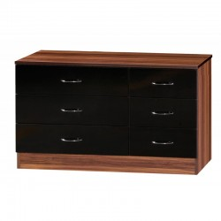 Alpha Black Gloss & Walnut Chest Of 6 Drawers