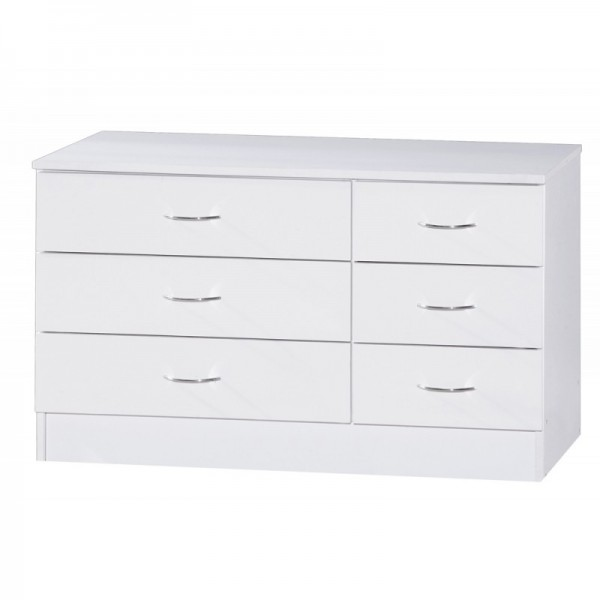 Alpha White Gloss Two Tone Chest Of 6 Drawers