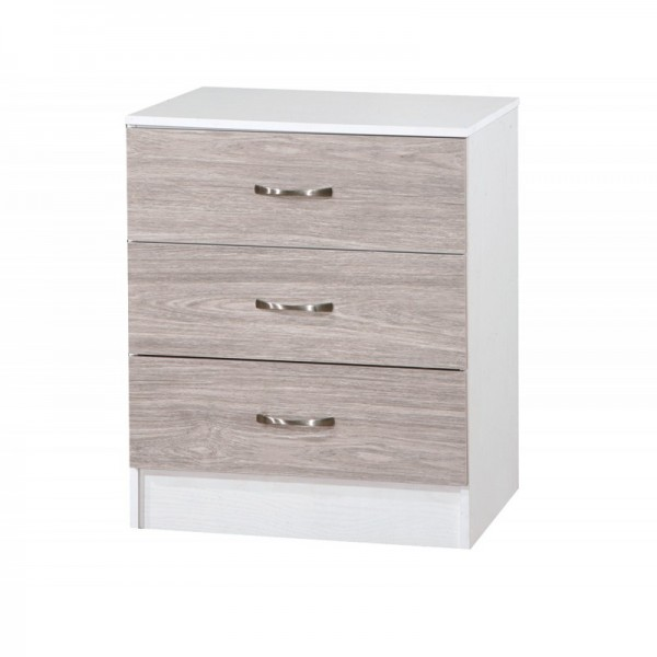 Marina Grey Oak Gloss & Ash White Chest Of 3 Drawer