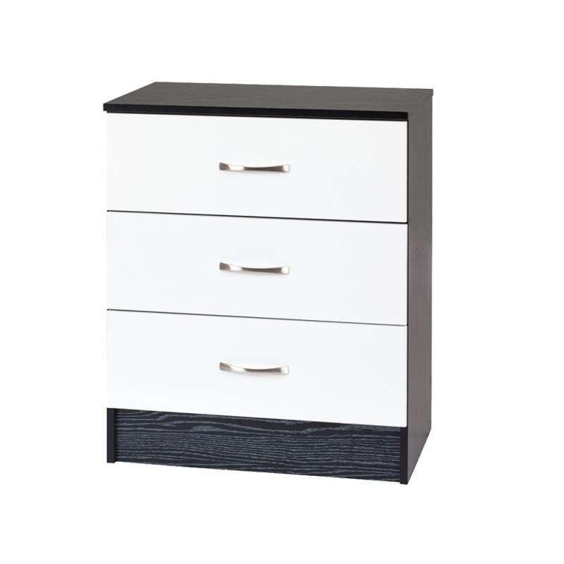 marina white gloss black chest of 3 drawer