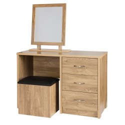 Holland Oak Dressing Table & Storage Stool