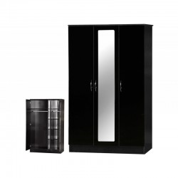 Alpha Black Gloss Two Tone 3 Door Mirrored Wardrobe