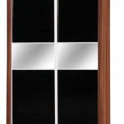 Alpha Black Gloss & Walnut 2 Door Sliding Wardrobe