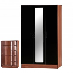 Alpha Black Gloss & Walnut 3 Door Mirrored Wardrobe