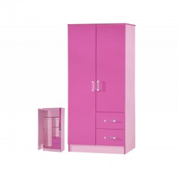 Marina Pink Gloss Two Tone 2 Door Combi Wardrobe