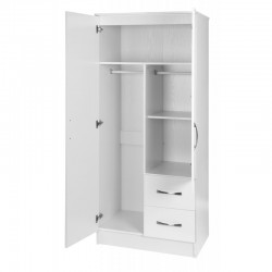 Marina White Gloss Two Tone 2 Door Combi Wardrobe