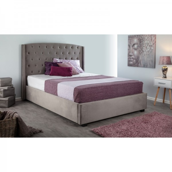 Balmain Steel 4FT6 Brushed Velvet Bed