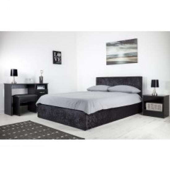 Boston Black 4ft6 Ottoman Crush Velvet Bed