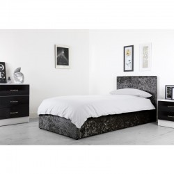 Boston Black 3ft Ottoman Crushed Velvet Bed
