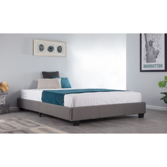 4ft6 Compact Platform Bed - Grey Fabric