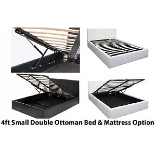 Boston Black 4FT Small Double Ottoman Bed