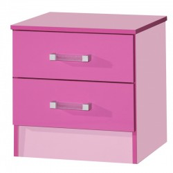 Marina Pink Gloss Two Tone 2 Drawer Bedside