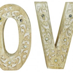LOVE Flower Design Wooden Letters