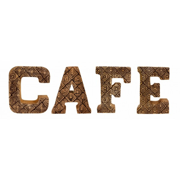 Hand Carved Wooden Geometric Letters Cafe