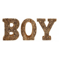 Hand Carved Wooden Geometric Letters Boy