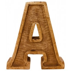 Hand Carved Wooden Embossed Letter A