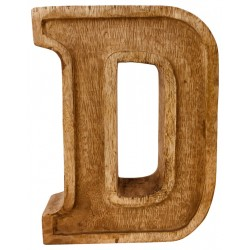 Hand Carved Wooden Embossed Letter D