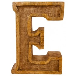 Hand Carved Wooden Embossed Letter E