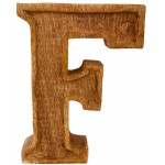 Hand Carved Wooden Embossed Letter F