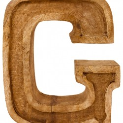 Hand Carved Wooden Embossed Letter G