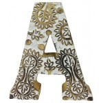 Hand Carved Wooden White Flower Letter A