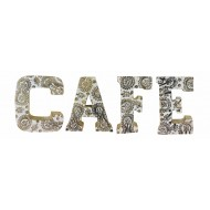 Hand Carved Wooden White Flower Letters Cafe