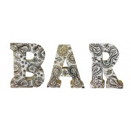 Hand Carved Wooden White Flower Letters Bar