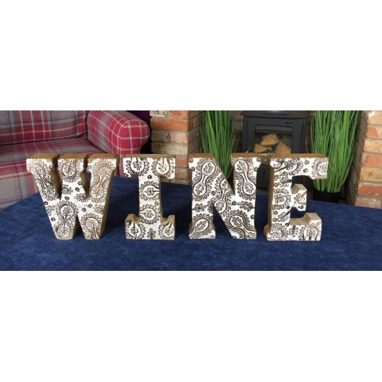Hand Carved Wooden White Flower Letters Wine