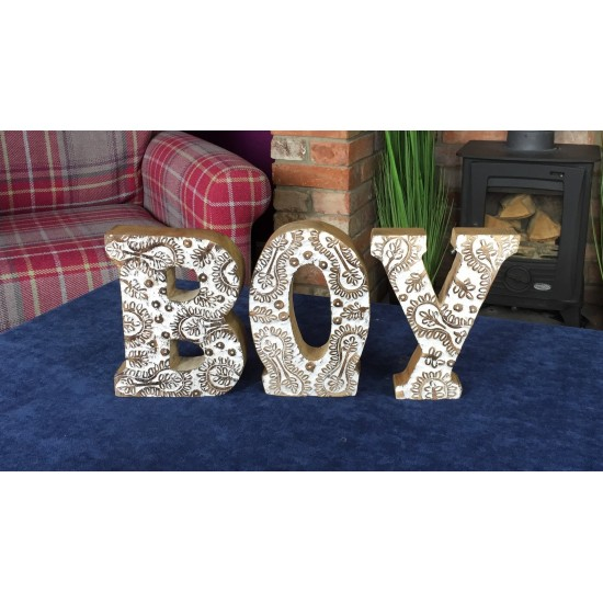 Hand Carved Wooden White Flower Letters Boy