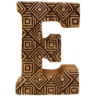 Hand Carved Wooden Geometric Letter E