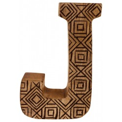 Hand Carved Wooden Geometric Letter J