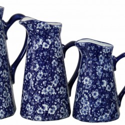 Set of 4 Ceramic Jugs Vintage Blue And White Daisies Design