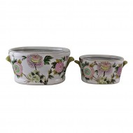 Set of 2 Ceramic Footbath Planters Floral Design