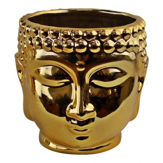 Gold Ceramic Buddha Head Planter, 12cm