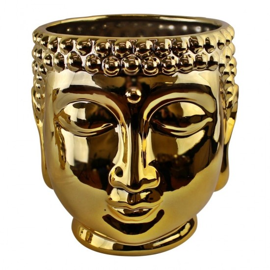 Gold Ceramic Buddha Head Planter, 20cm