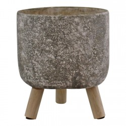 Small Grey Cement Planter With Wooden Legs 15cm diameter
