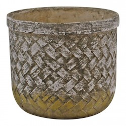Weave Effect Cement Pot Small 16cm diameter