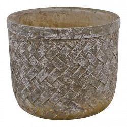 Weave Effect Cement Pot Medium 19cm diameter