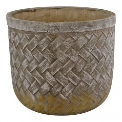 Weave Effect Cement Pot Large 23cm diameter