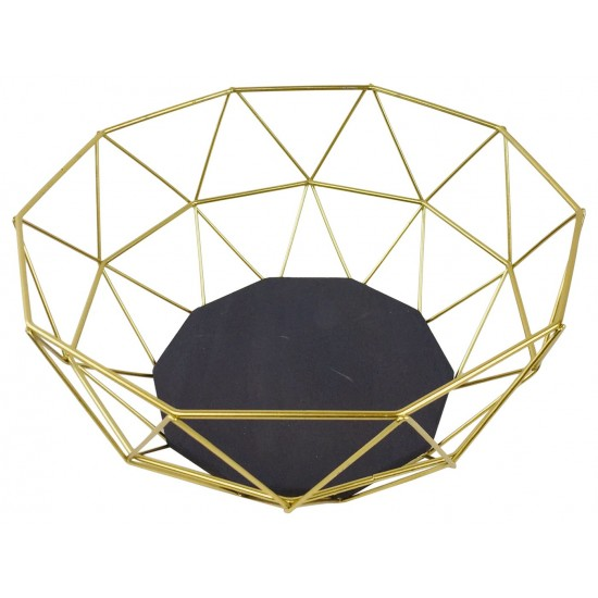 Golden Geometric Style Wire Bowl