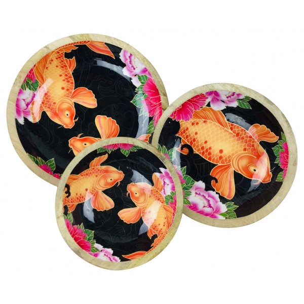 Koi Fish Set of Three Wooden Bowls