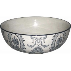 Blue and Light Grey Crackle Glazed Bowl