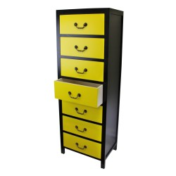 Yellow Tall Cabinet with 7 Drawers 38 x 26 x 110cm