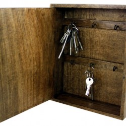 Solid Wood Wall Hanging Key Cabinet with 6 Hooks